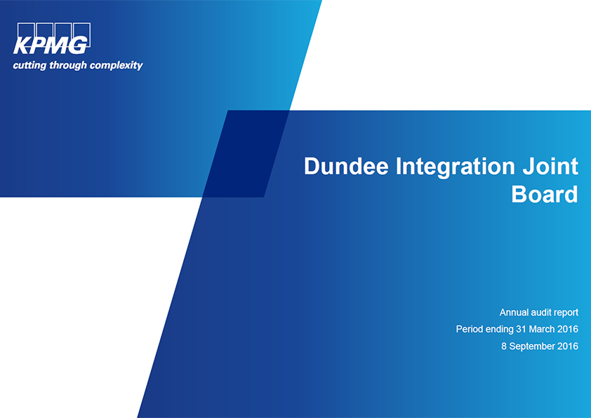 Report cover: Dundee Integration Joint Board annual audit 2015/16