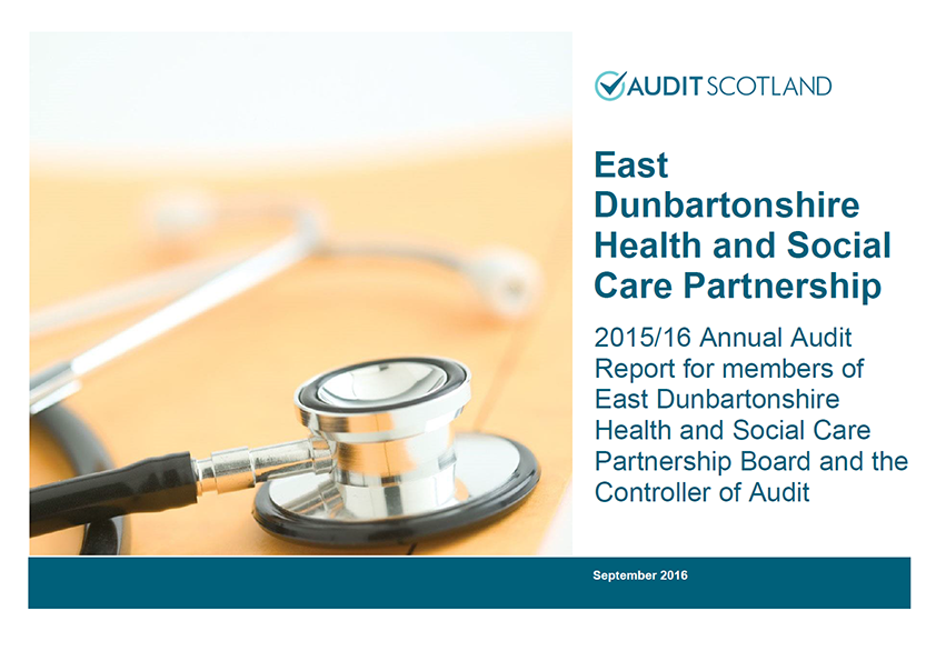 Report cover: East Dunbartonshire Health and Social Care Partnership annual audit 2015/16