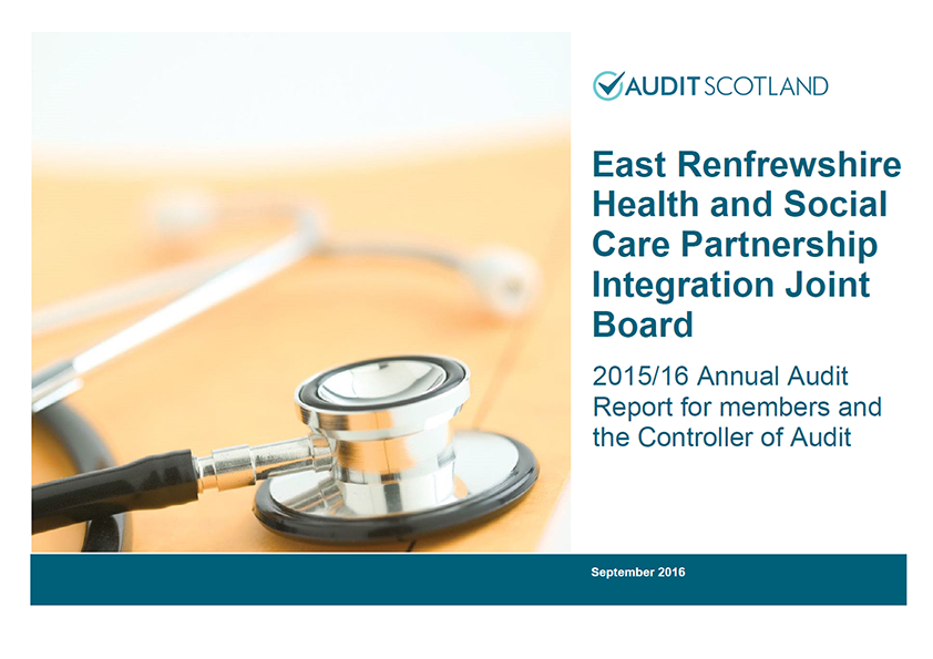 Report cover: East Renfrewshire Health and Social Care Partnership Integration Joint Board annual audit 2015/16