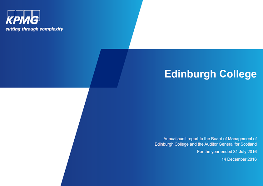 Report cover: Edinburgh College annual audit 2015/16