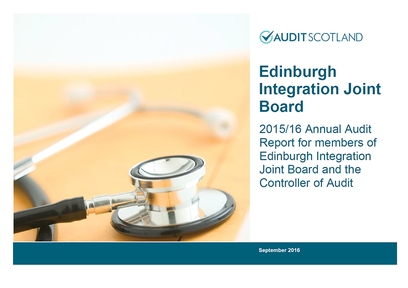 Report cover: Edinburgh Integration Joint Board annual audit 2015/16