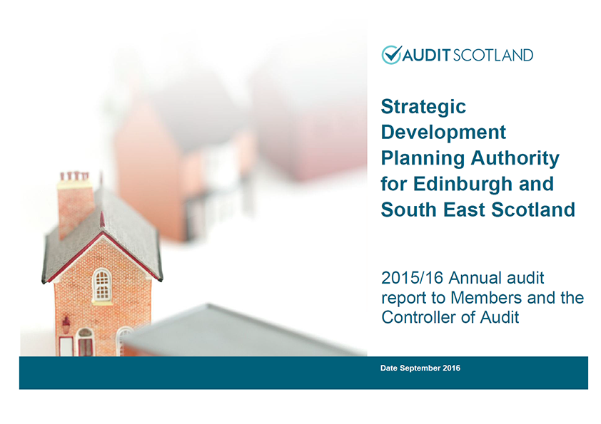 Report cover: Strategic Development Planning Authority for Edinburgh and South East Scotland annual audit 2015/16