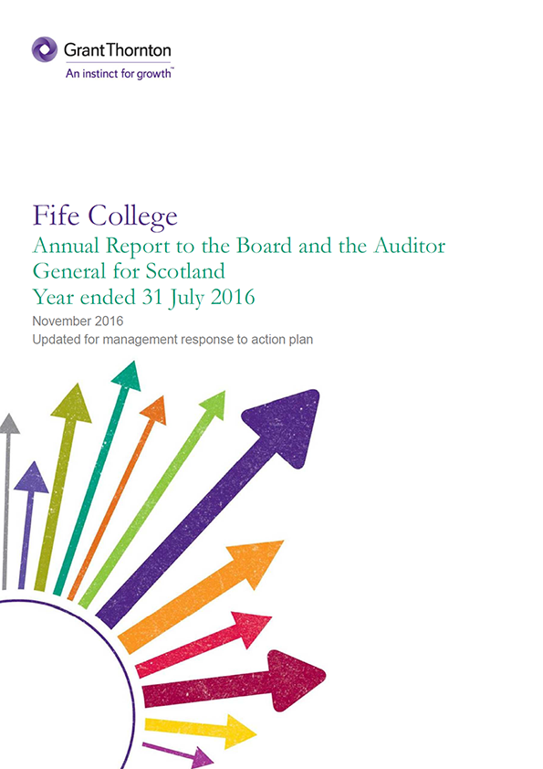Report cover: Fife College annual audit 2015/16