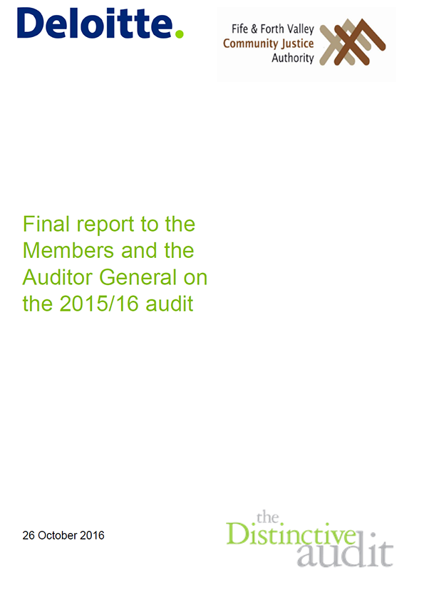 Report cover: Fife and Forth Valley Community Justice Authority annual audit 2015/16