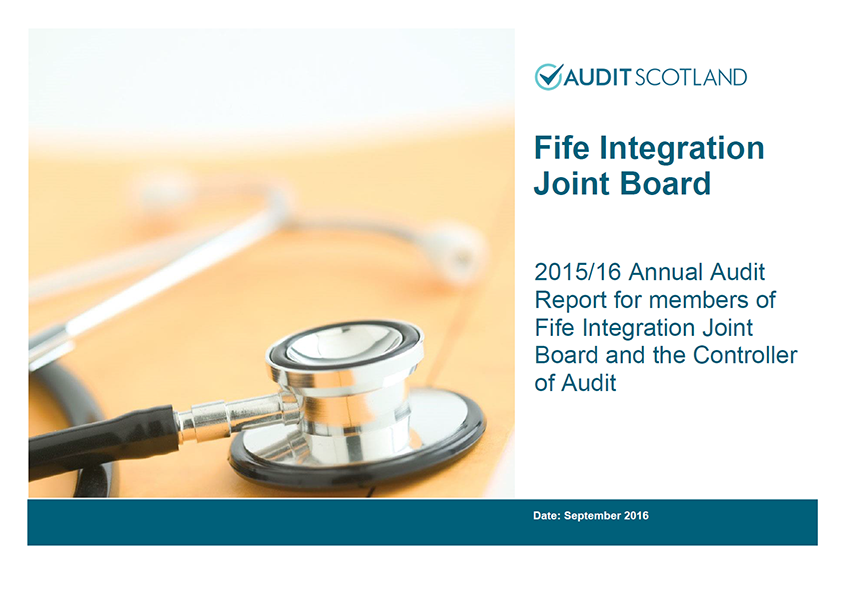 Report cover: Fife Integration Joint Board annual audit 2015/16