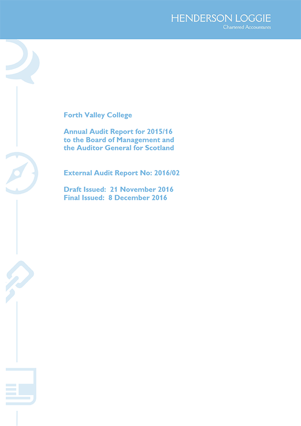 Report cover: Forth Valley College annual audit 2015/16