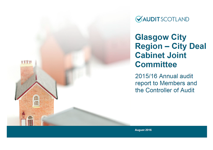Report cover: Glasgow City Region - City Deal Cabinet Joint Committee annual audit 2015/16