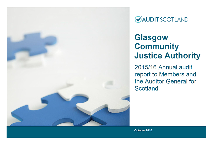 Report cover: Glasgow Community Justice Authority annual audit 2015/16