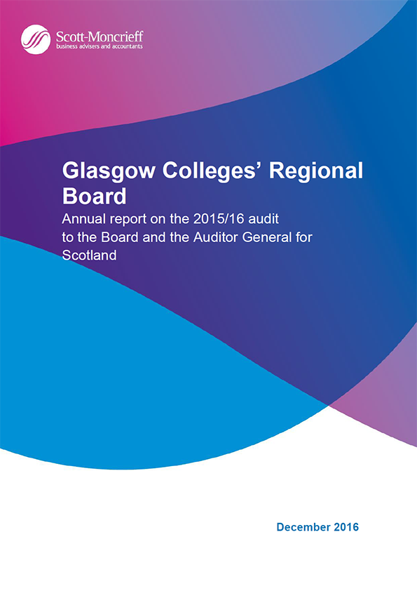 Report cover: Glasgow Colleges' Regional Board annual audit 2016/16