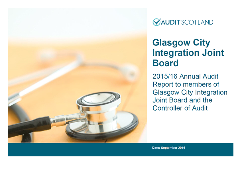 Report cover: Glasgow City Integration Joint Board annual audit 2015/16
