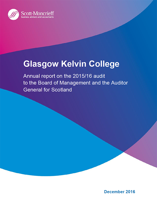 Report cover: Glasgow Kelvin College annual audit 2015/16