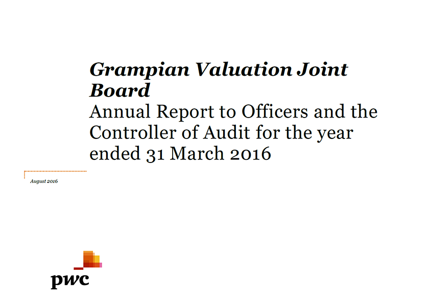 Report cover: Grampian Valuation Joint Board annual audit 2015/16