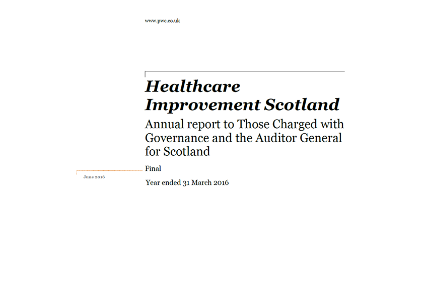 Report cover: Healthcare Improvement Scotland annual audit 2015/16