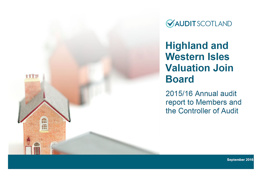 Report cover: Highland and Western Isles Valuation Joint Board annual audit 2015/16