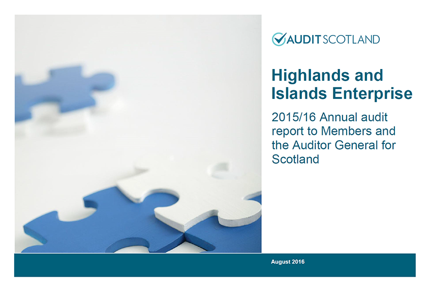 Report cover: Highlands and Islands Enterprise annual audit 2015/16