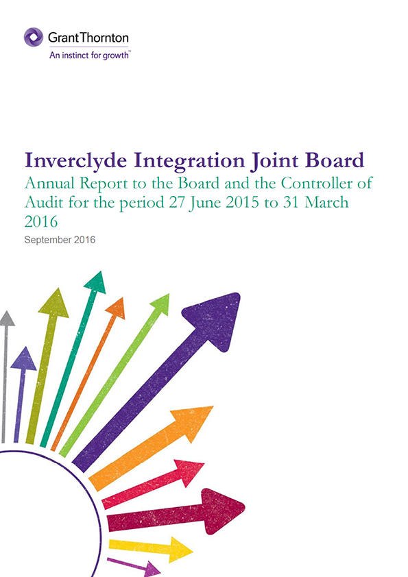 Report cover: Inverclyde Integration Joint Board annual audit 2015/16