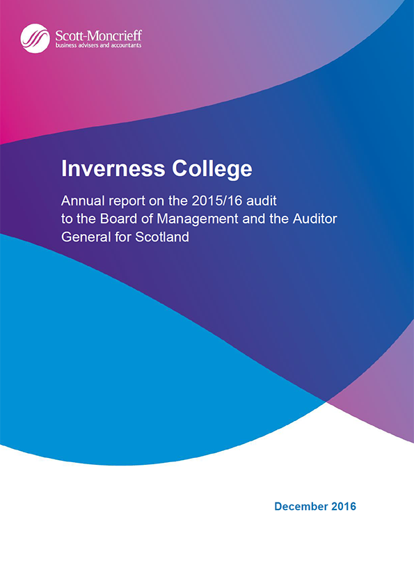 Report cover: Inverness College annual audit 2015/16
