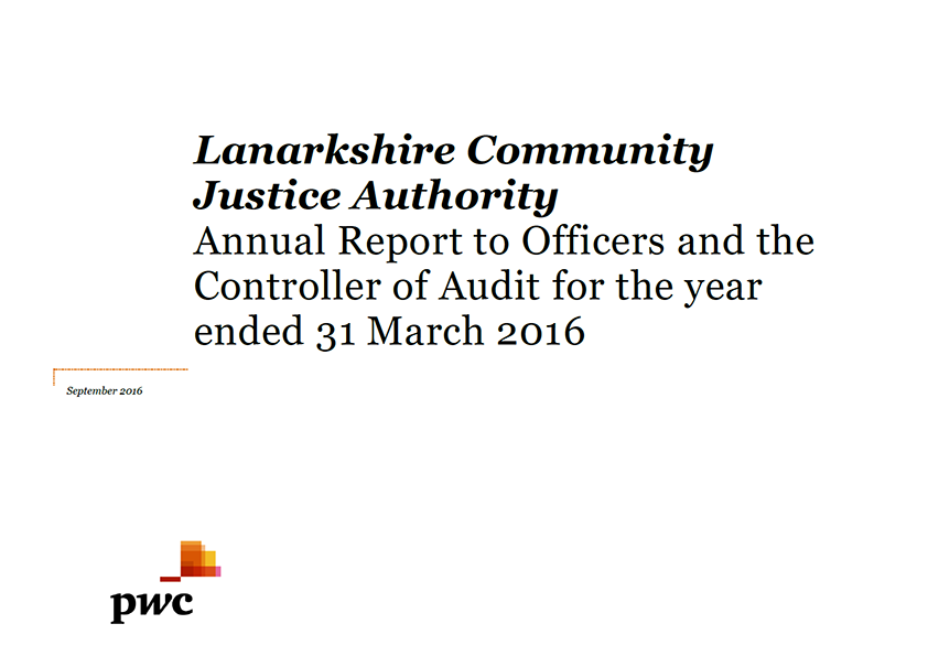 Report cover: Lanarkshire Community Justice Authority annual audit 2015/16
