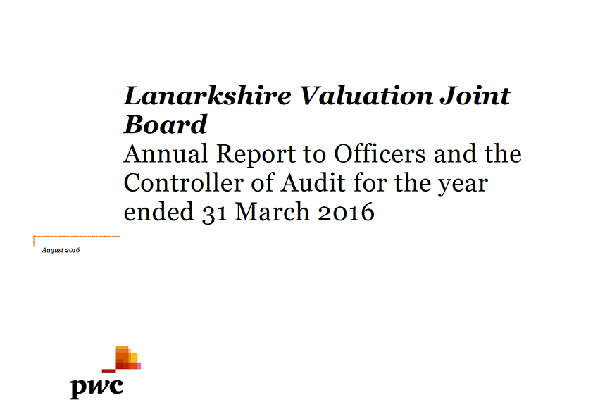 Report cover: Lanarkshire Valuation Joint Board annual audit 2015/16