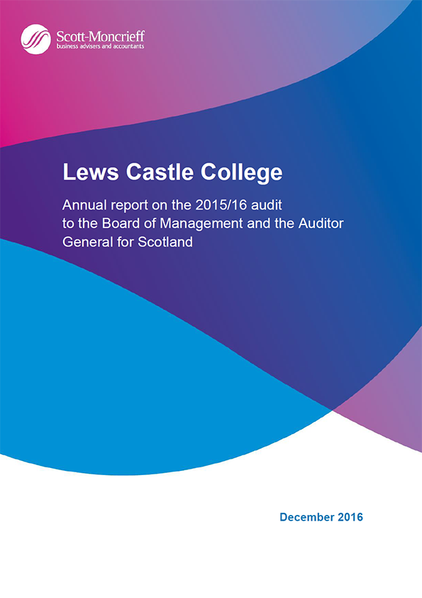 Report cover: Lews Castle College annual audit 2015/16