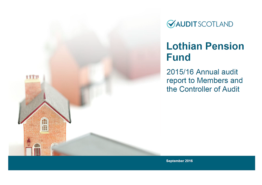 Report cover: Lothian Pension Fund annual audit 2015/16