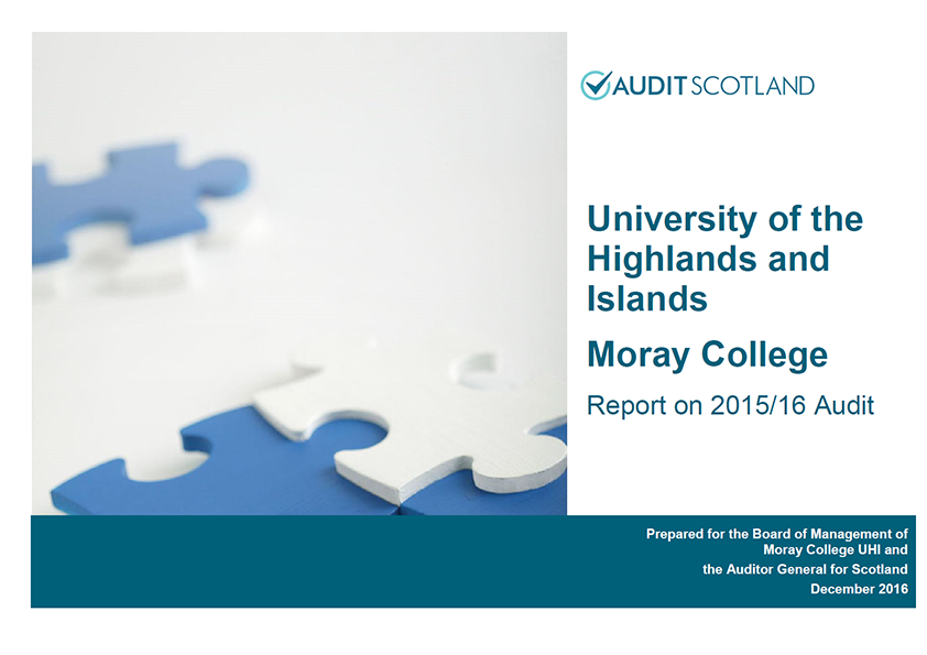 Report cover: Moray College annual audit 2015/16