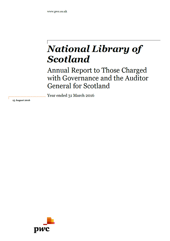 Report cover: National Library of Scotland annual audit 2015/16