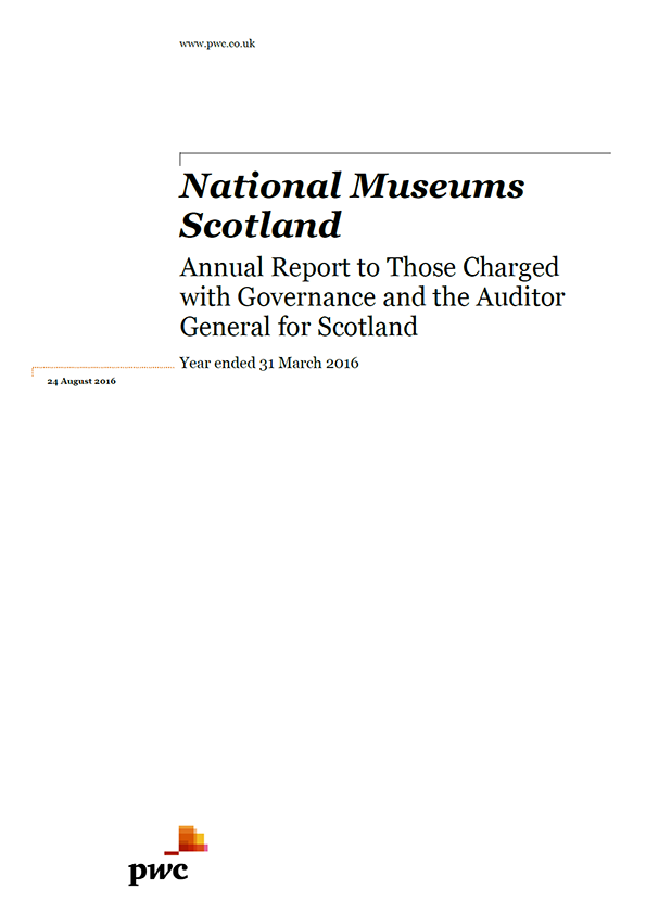 Report cover: National Museums Scotland annual audit 2015/16