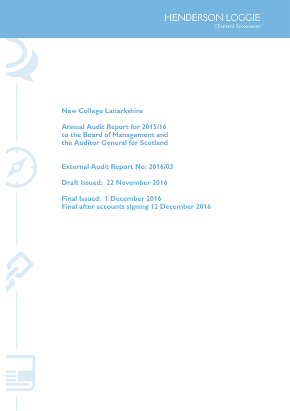 Report cover: New College Lanarkshire annual audit 2015/16
