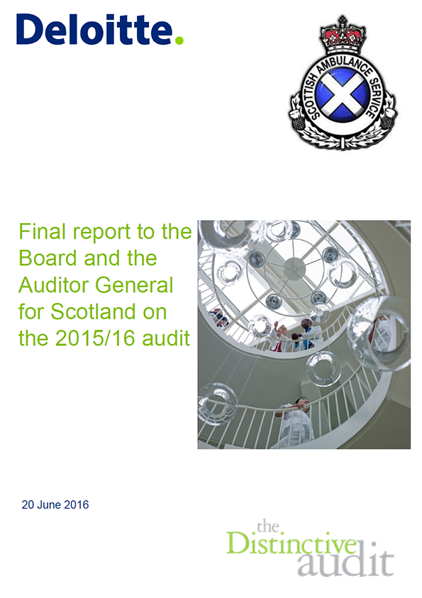 Report cover: Scottish Ambulance Service annual audit 2015/16