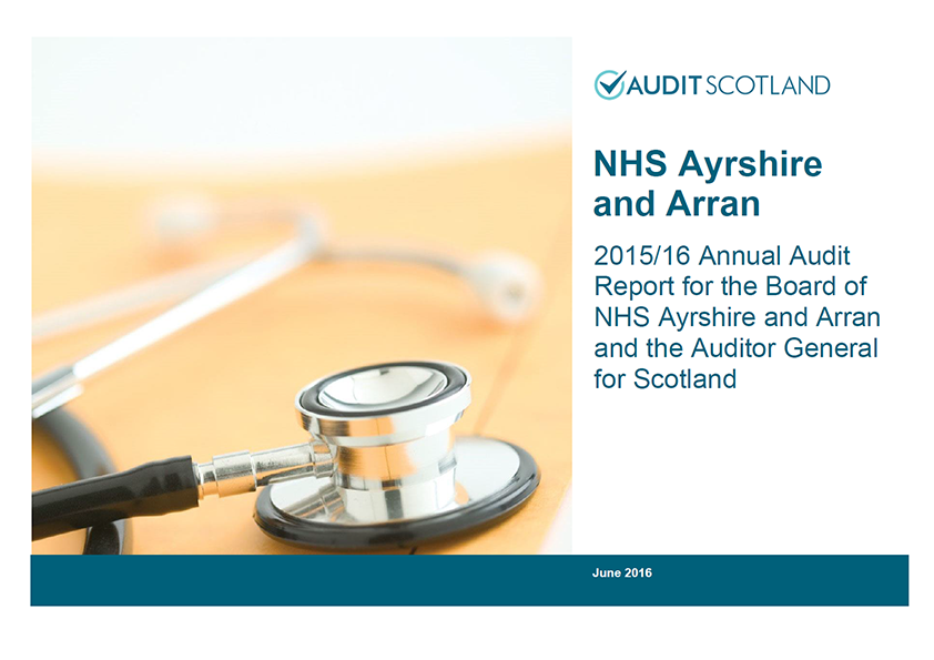 Report cover: NHS Ayrshire and Arran annual audit 2015/16