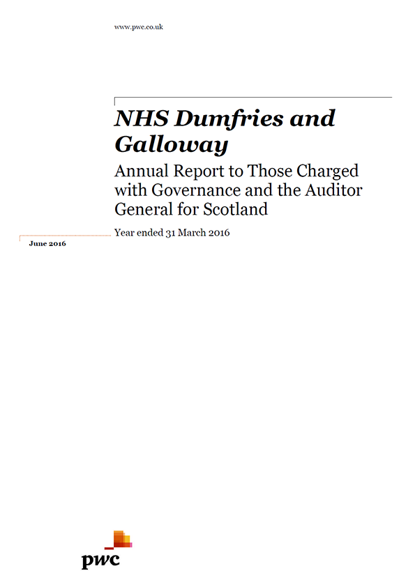 Report cover: NHS Dumfries and Galloway annual audit 2015/16