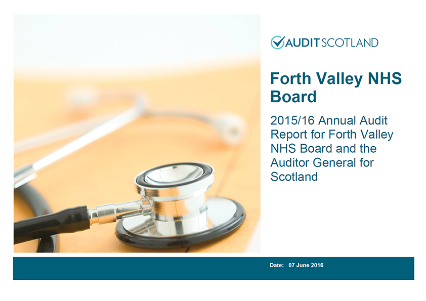 Report cover: NHS Forth Valley annual audit 2015/16