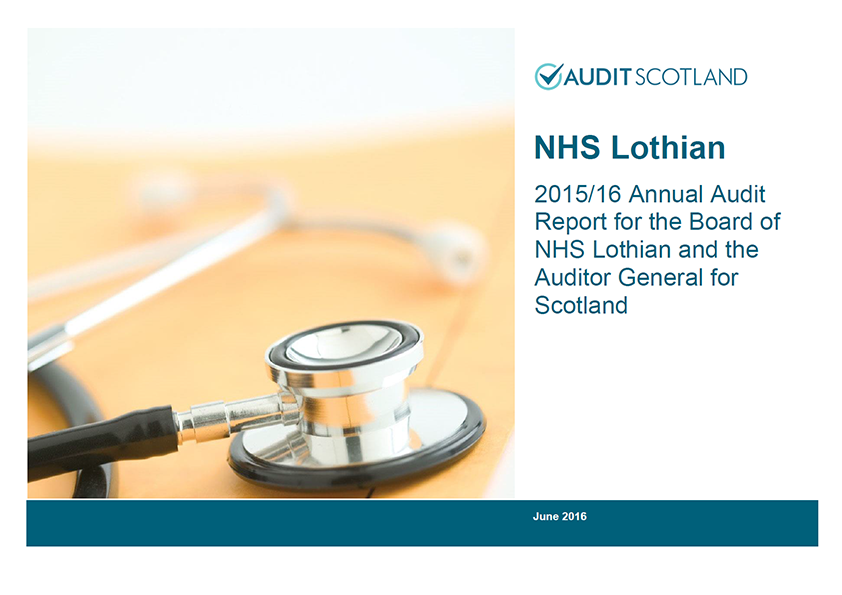 Report cover: NHS Lothian annual audit 2015/16