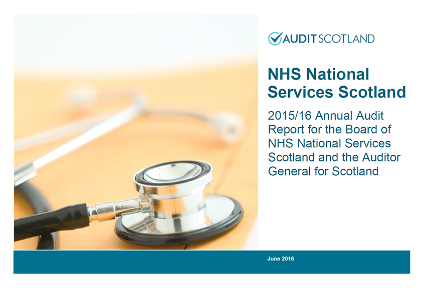 Report cover: NHS National Services Scotland annual audit 2015/16
