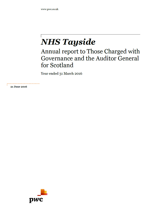 Report cover: NHS Tayside annual audit 2015/16