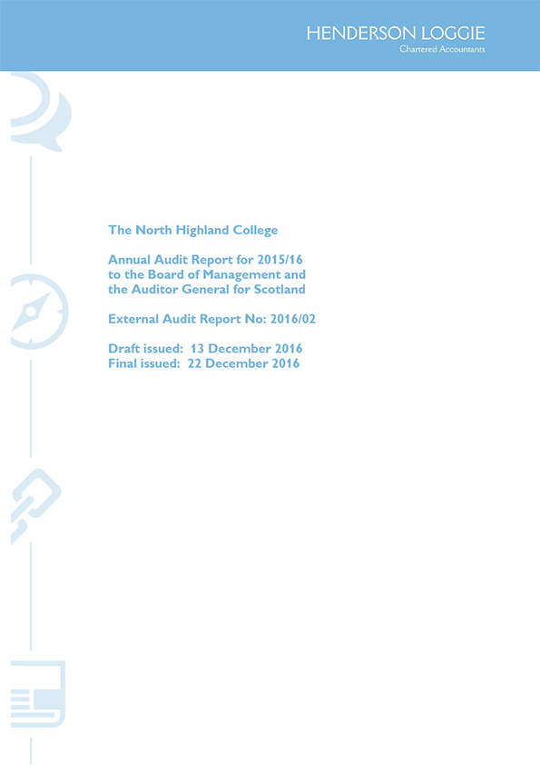 Report cover: North Highland College annual audit 2015/16