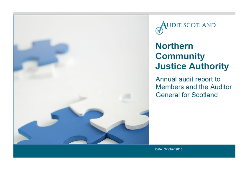 Report cover: Northern Community Justice Authority annual audit 2015/16