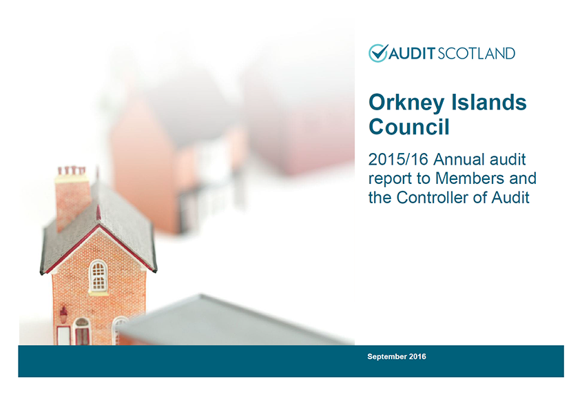 Report cover: Orkney Islands Council annual audit 2015/16