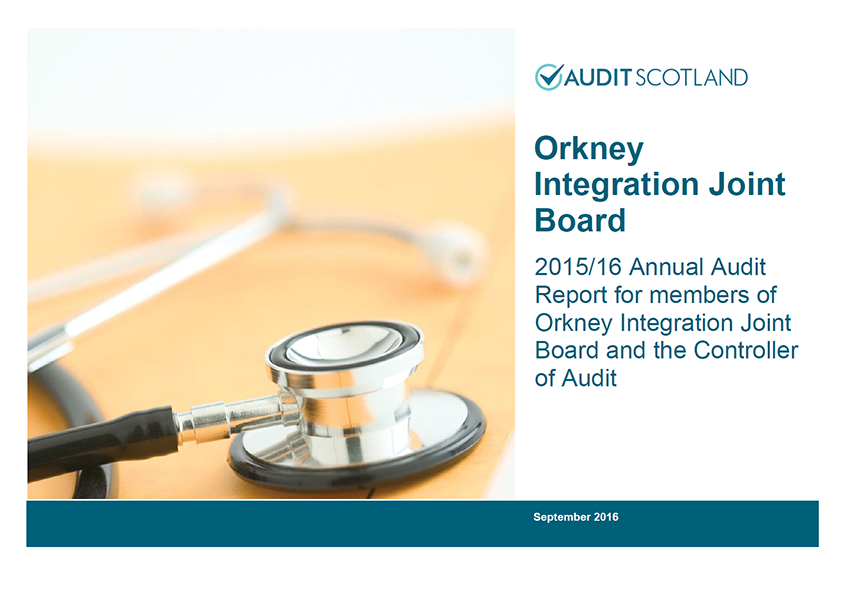Report cover: Orkney Integration Joint Board annual audit 2015/16