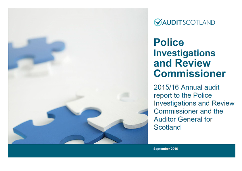 Report cover: Police Investigations and Review Commissioner annual audit 2015/16