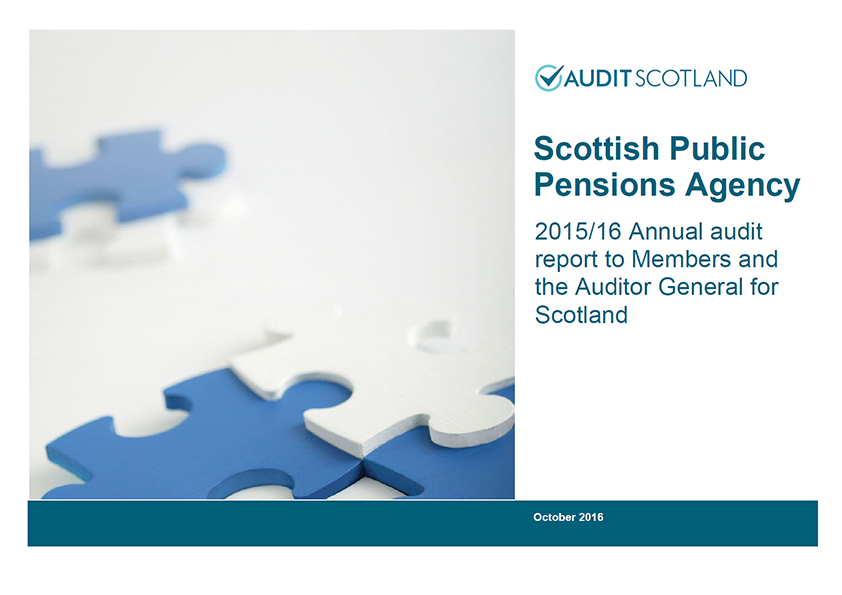 Report cover: Scottish Public Pensions Agency annual audit 2015/16