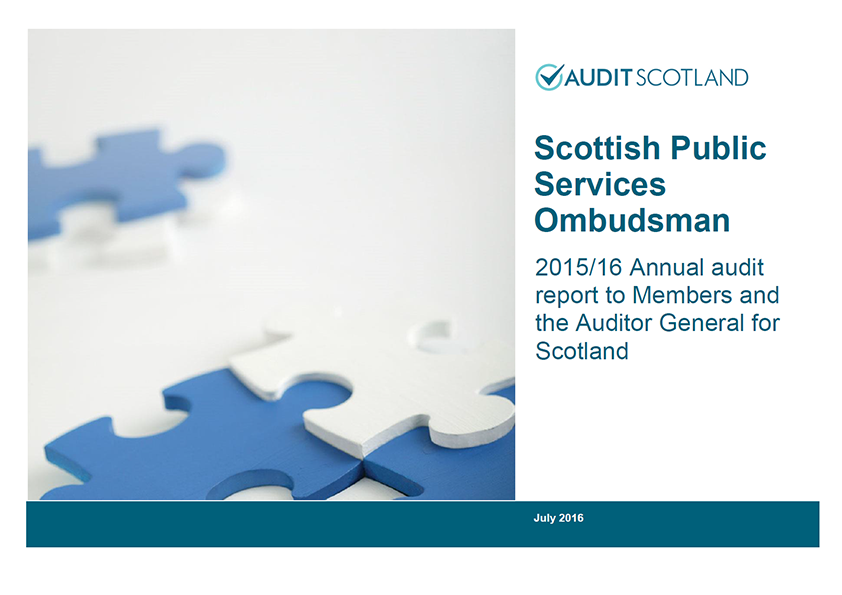 Report cover: Scottish Public Services Ombudsman annual audit 2015/16