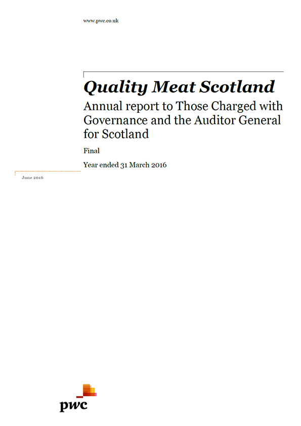 Report cover: Quality Meat Scotland annual audit 2015/16