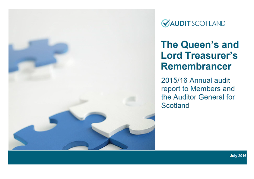 Report cover: The Queen's and Lord Treasurer's Remembrancer annual audit 2015/16