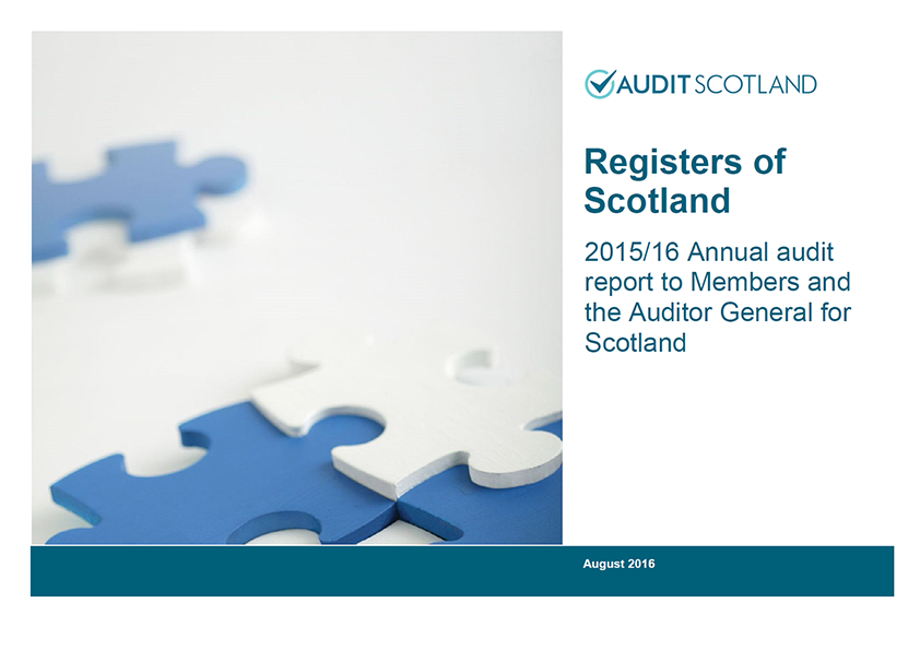Report cover: Registers of Scotland annual audit 2015/16