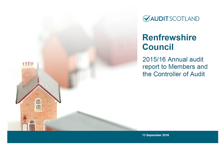 Report cover: Renfrewshire Council annual audit 2015/16