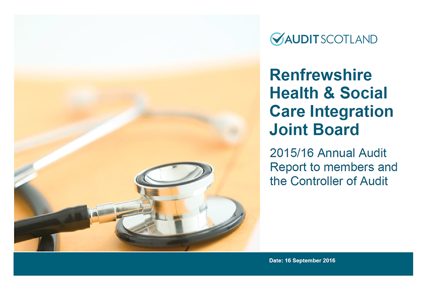 Report cover: Renfrewshire Health and Social Care Integration Joint Board annual audit 2015/16