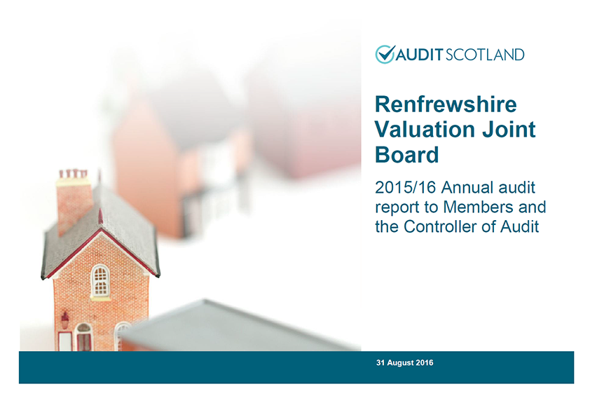 Report cover: Renfrewshire Valuation Joint Board annual audit 2015/16