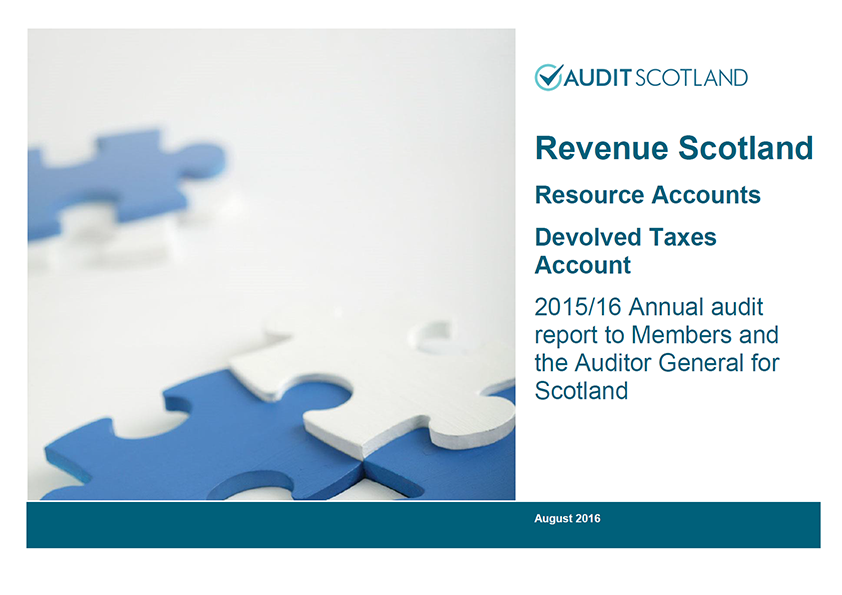 Report cover: Revenue Scotland annual audit 2015/16